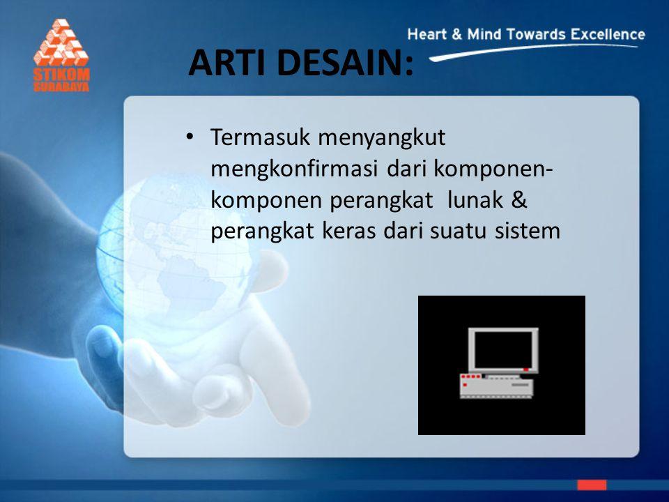 ARTI DESAIN: Termasuk menyangkut mengkonfirmasi dari komponen- komponen perangkat lunak & perangkat keras dari suatu sistem