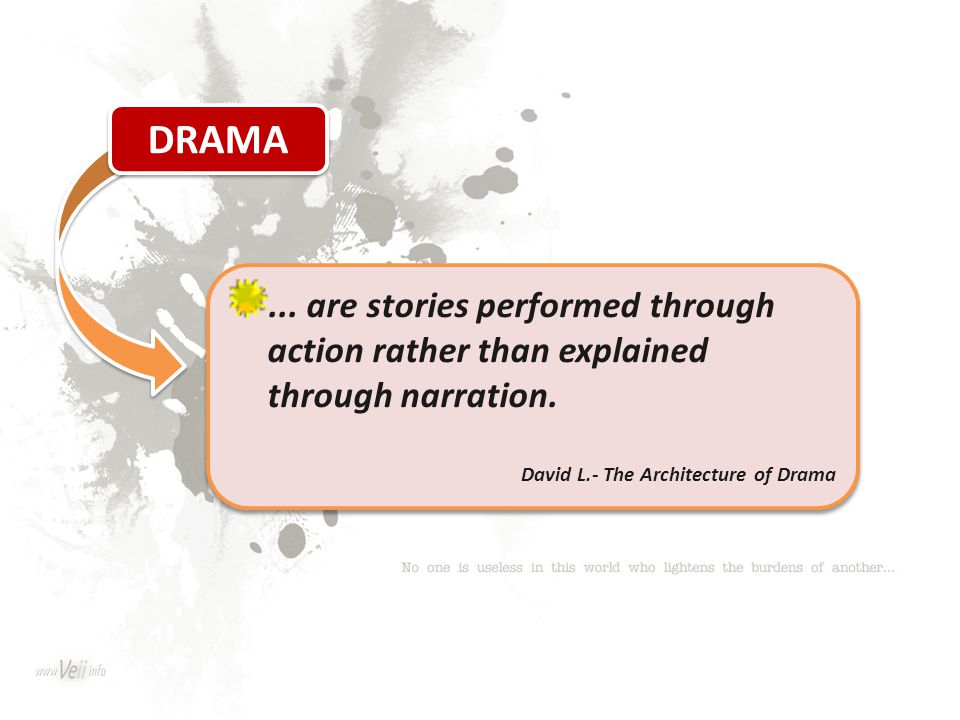 ... are stories performed through action rather than explained through narration. David L.- The Architecture of Drama... are stories performed through