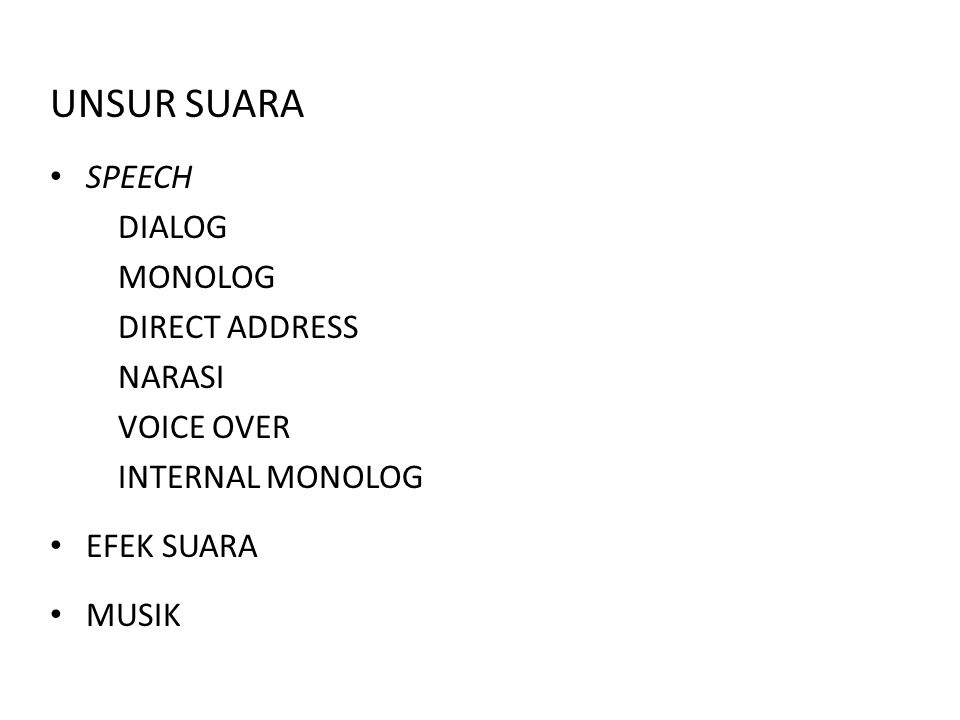 UNSUR SUARA SPEECH DIALOG MONOLOG DIRECT ADDRESS NARASI VOICE OVER INTERNAL MONOLOG EFEK SUARA MUSIK