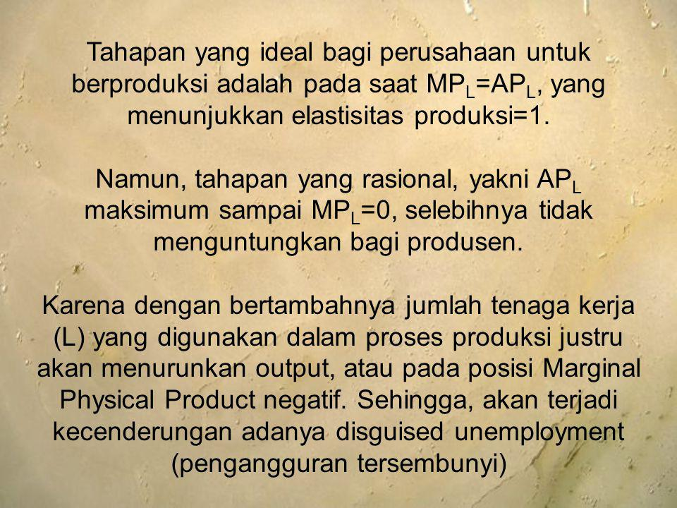 Tahapan yang ideal bagi perusahaan untuk berproduksi adalah pada saat MP L =AP L, yang menunjukkan elastisitas produksi=1. Namun, tahapan yang rasiona
