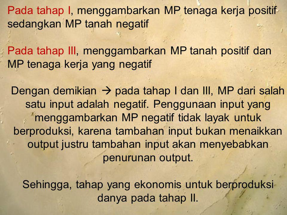 Pada tahap I, menggambarkan MP tenaga kerja positif sedangkan MP tanah negatif Pada tahap III, menggambarkan MP tanah positif dan MP tenaga kerja yang
