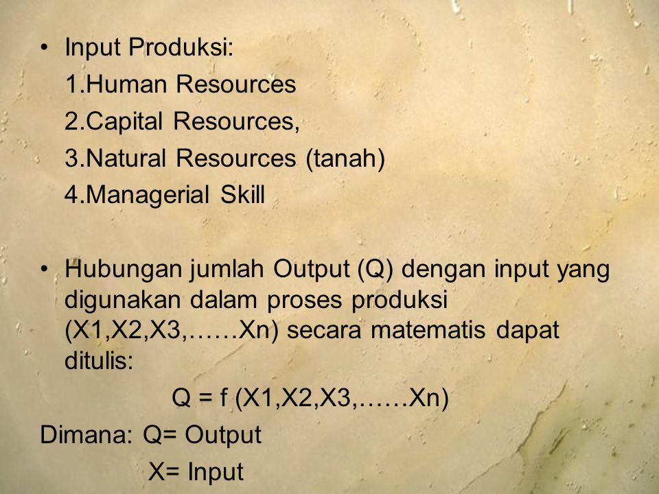 Input Produksi: 1.Human Resources 2.Capital Resources, 3.Natural Resources (tanah) 4.Managerial Skill Hubungan jumlah Output (Q) dengan input yang dig