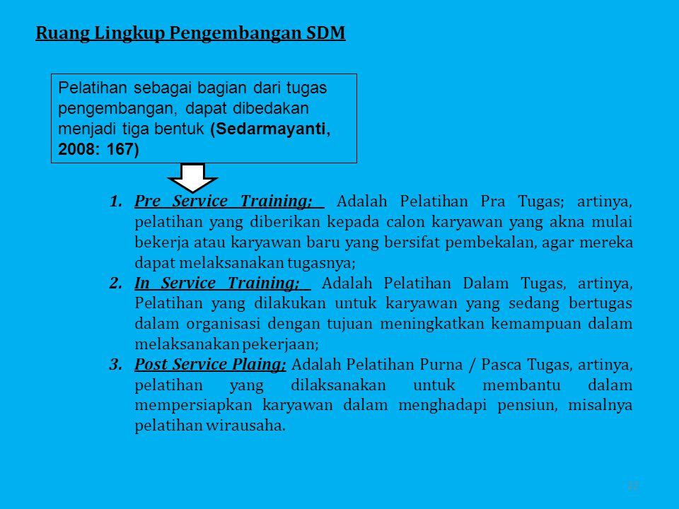 Metode-Metode Pelatihan dan Pengembangan Metode On-the-Job 1.Pelatihan Instruksi Kerja 2.Rotasi Jabatan 3.Magang Metode Off-the-Job 1.Ceramah dan Presentasi Video 2.Vestibule Training 3.Role Playing dan Behavior Modeling 4.Studi Kasus 5.Simulasi 6.Belajar Mandiri dan Pembelajaran Terprogram 7.Pelatihan Laboratorium 8.Action Learning 9.Business Game