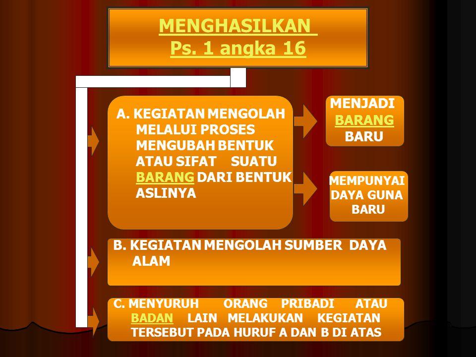 Ps. 1 angka 14 ORANG PRIBADI BADAN DALAM KEGIATAN USAHA ATAU PEKERJAANNYA - MENGHASILKAN BARANG;BARANG - MENGIMPOR BARANG;BARANG - MENGEKSPOR BARANG;B