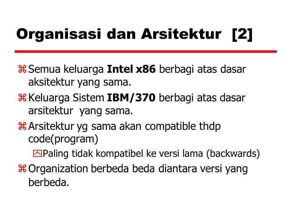 Organisasi dan Arsitektur [2]  Semua keluarga Intel x86 berbagi atas dasar aksitektur yang sama.