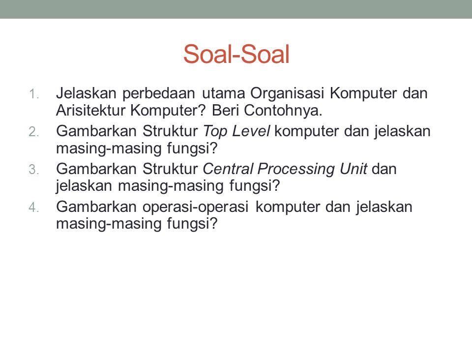 Soal-Soal 1.Jelaskan perbedaan utama Organisasi Komputer dan Arisitektur Komputer.