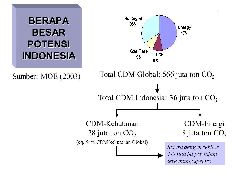 BERAPA BESAR POTENSI INDONESIA Total CDM Global: 566 juta ton CO 2 Total CDM Indonesia: 36 juta ton CO 2 CDM-Kehutanan 28 juta ton CO 2 (eq. 54% CDM k