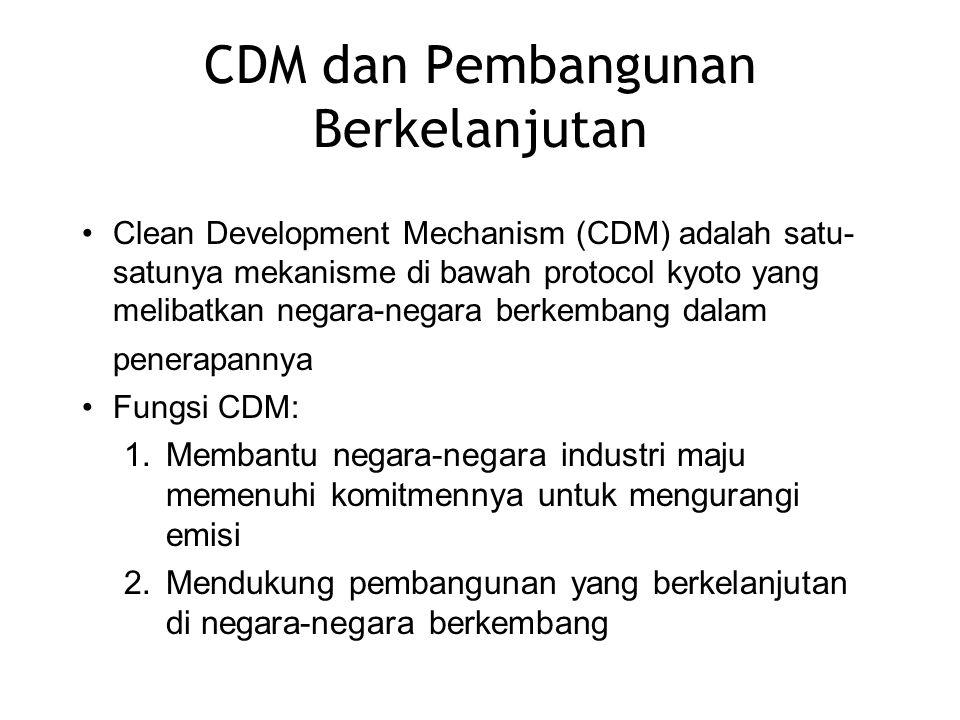 CDM dan Pembangunan Berkelanjutan Clean Development Mechanism (CDM) adalah satu- satunya mekanisme di bawah protocol kyoto yang melibatkan negara-nega