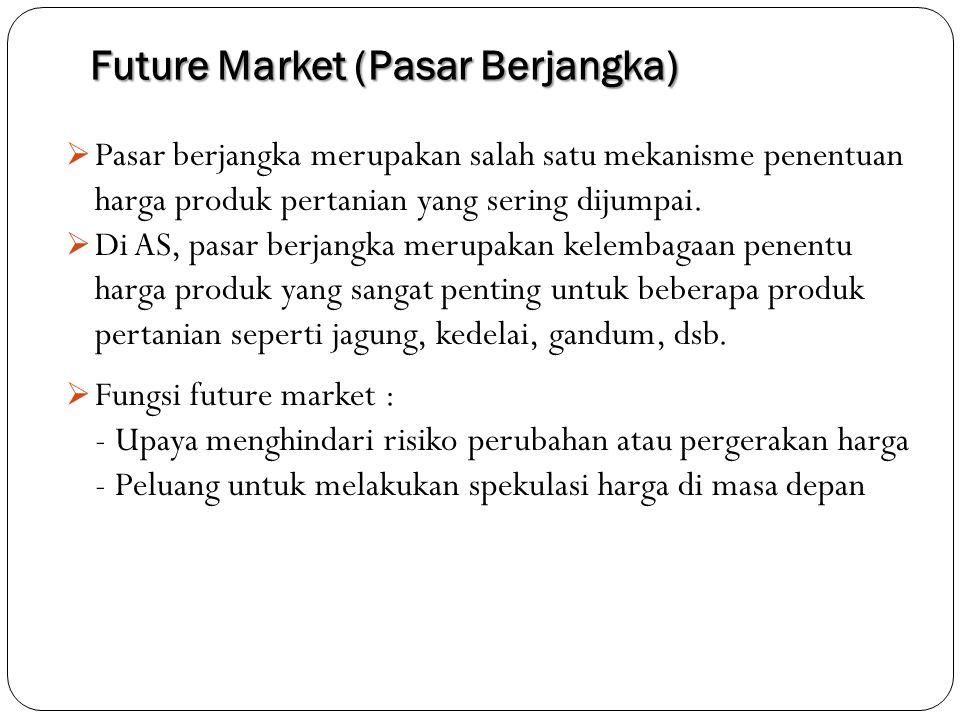 Future Market (Pasar Berjangka)  Pasar berjangka merupakan salah satu mekanisme penentuan harga produk pertanian yang sering dijumpai.