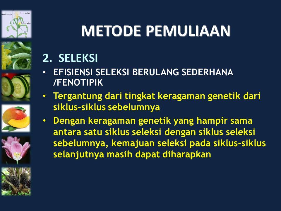 METODE PEMULIAAN 2.SELEKSI EFISIENSI SELEKSI BERULANG SEDERHANA /FENOTIPIK Tergantung dari tingkat keragaman genetik dari siklus-siklus sebelumnya Den