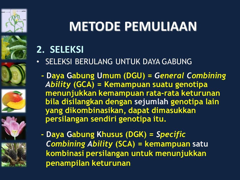 METODE PEMULIAAN 2.SELEKSI SELEKSI BERULANG UNTUK DAYA GABUNG - Daya Gabung Umum (DGU) = General Combining Ability (GCA) = Kemampuan suatu genotipa me