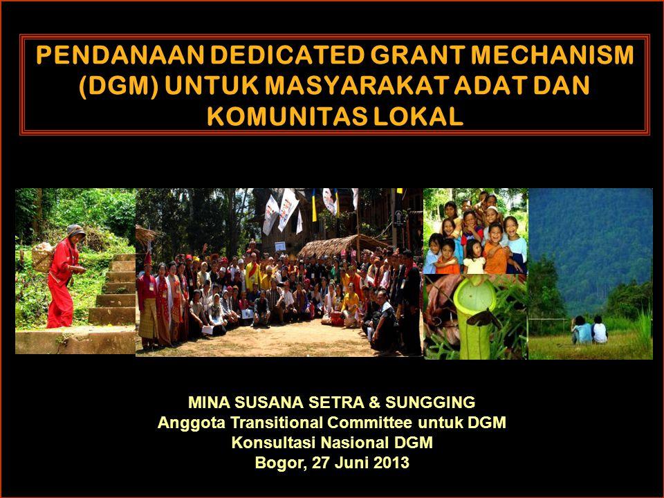 PENDANAAN DEDICATED GRANT MECHANISM (DGM) UNTUK MASYARAKAT ADAT DAN KOMUNITAS LOKAL MINA SUSANA SETRA & SUNGGING Anggota Transitional Committee untuk DGM Konsultasi Nasional DGM Bogor, 27 Juni 2013