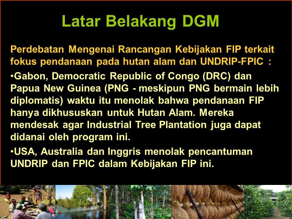Latar Belakang DGM Perdebatan Mengenai Rancangan Kebijakan FIP terkait fokus pendanaan pada hutan alam dan UNDRIP-FPIC : Gabon, Democratic Republic of Congo (DRC) dan Papua New Guinea (PNG - meskipun PNG bermain lebih diplomatis) waktu itu menolak bahwa pendanaan FIP hanya dikhususkan untuk Hutan Alam.