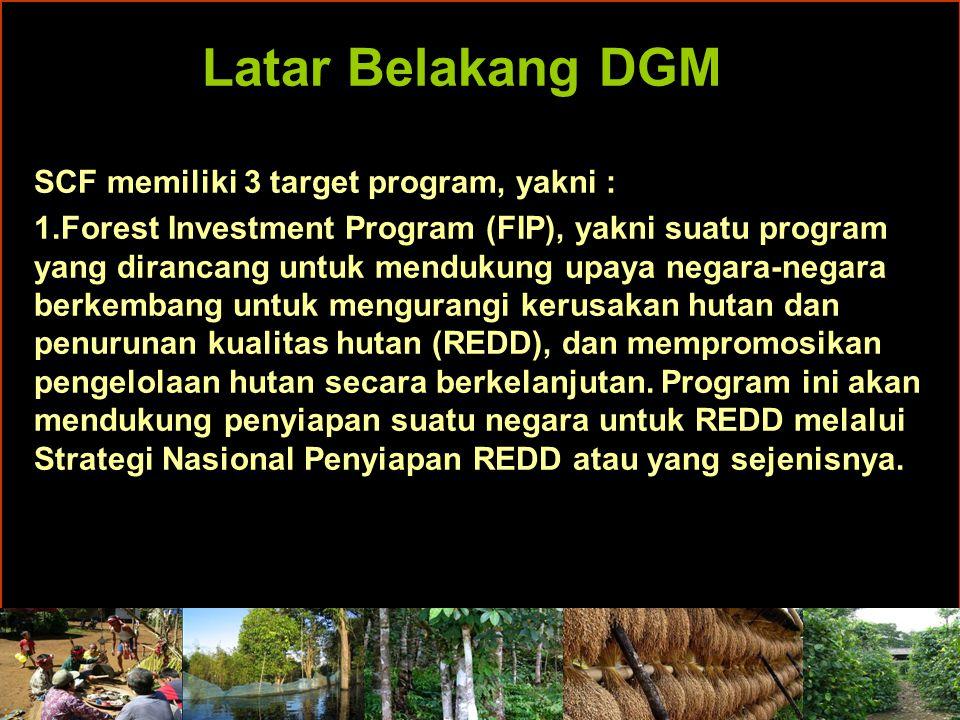 Latar Belakang DGM Setiap Region mendiskusikan apa-apa saja hal-hal prinsip yang harus menjadi panduan dalam mekanisme pendanaan ini, termasuk bagaimana mekanisme pendanaan ini sendiri akan disalurkan kepada Masyarakat Adat dan Komunitas Lokal.