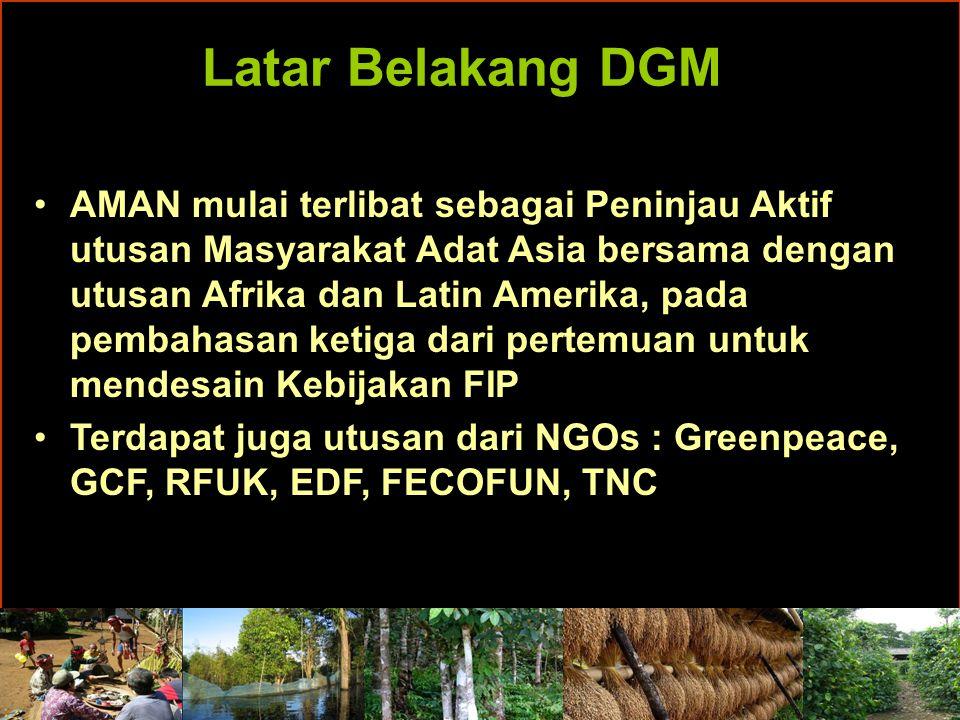 Latar Belakang DGM Perhatian khusus Masyarakat Adat & NGOs terhadap dokumen Rancangan Kebijakan FIP waktu itu : Pendanaan FIP yang akan difokuskan pada pengamanan Natural Forest (Hutan Alam).
