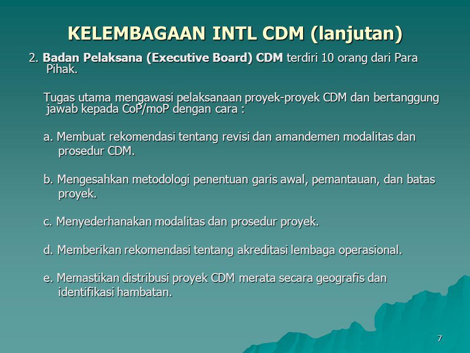 8 KELEMBAGAAN INTL CDM (lanjutan) 3.Pencatat CDM (CDM Registrar).