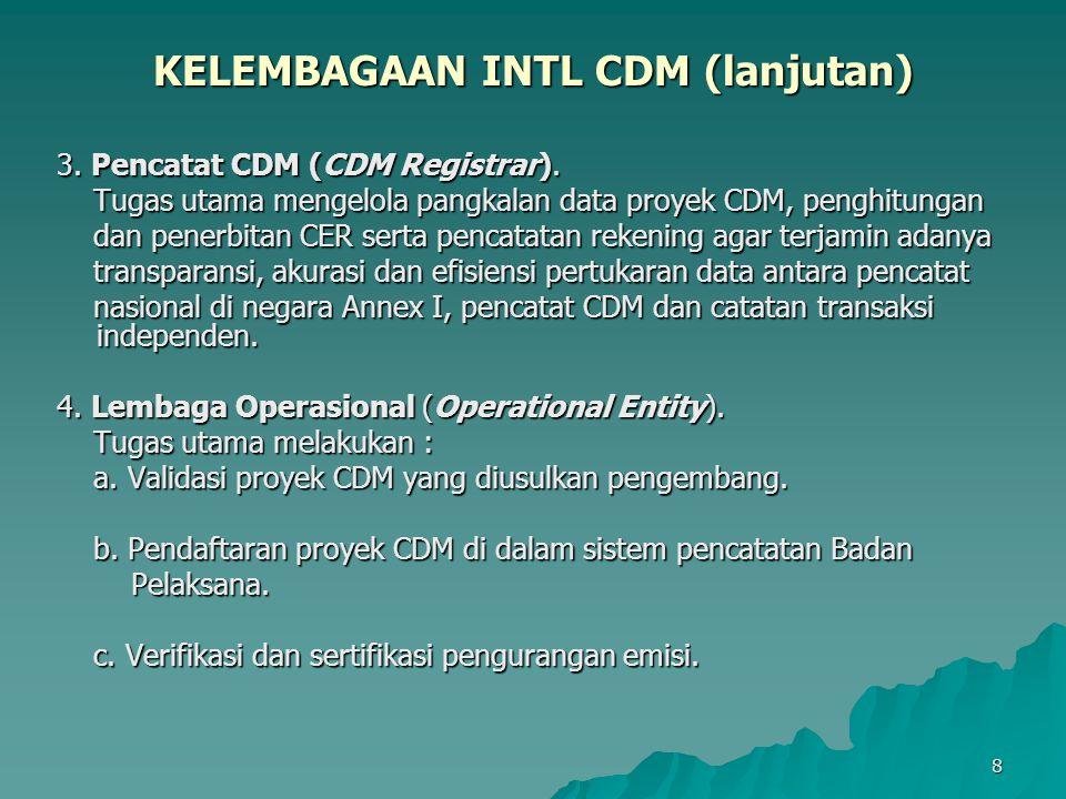 9 KELEMBAGAAN INTL CDM (lanjutan) 5.