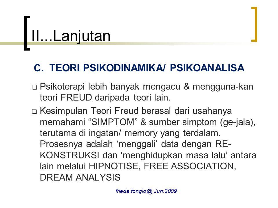 II...Lanjutan C.TEORI PSIKODINAMIKA/ PSIKOANALISA  Psikoterapi lebih banyak mengacu & mengguna-kan teori FREUD daripada teori lain.