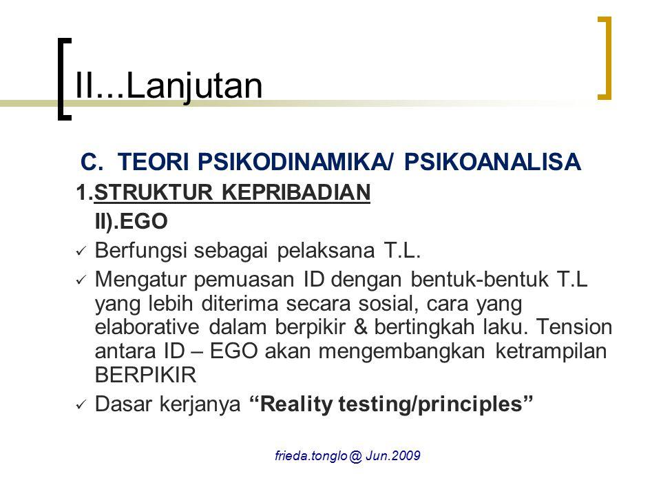 II...Lanjutan C.TEORI PSIKODINAMIKA/ PSIKOANALISA 1.STRUKTUR KEPRIBADIAN II).EGO Berfungsi sebagai pelaksana T.L. Mengatur pemuasan ID dengan bentuk-b