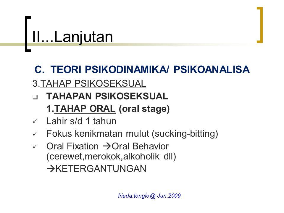 II...Lanjutan C.TEORI PSIKODINAMIKA/ PSIKOANALISA 3.TAHAP PSIKOSEKSUAL  TAHAPAN PSIKOSEKSUAL 1.TAHAP ORAL (oral stage) Lahir s/d 1 tahun Fokus kenikm