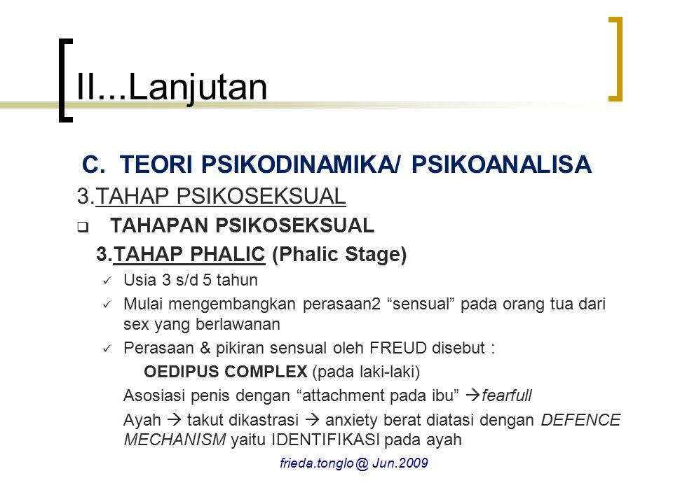 II...Lanjutan C.TEORI PSIKODINAMIKA/ PSIKOANALISA 3.TAHAP PSIKOSEKSUAL  TAHAPAN PSIKOSEKSUAL 3.TAHAP PHALIC (Phalic Stage) Usia 3 s/d 5 tahun Mulai m