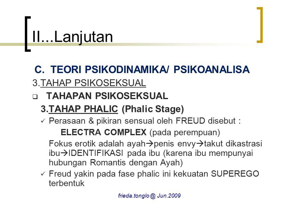 II...Lanjutan C.TEORI PSIKODINAMIKA/ PSIKOANALISA 3.TAHAP PSIKOSEKSUAL  TAHAPAN PSIKOSEKSUAL 3.TAHAP PHALIC (Phalic Stage) Perasaan & pikiran sensual