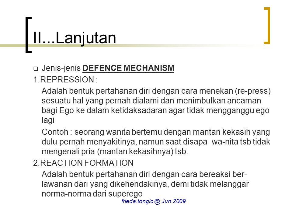 II...Lanjutan  Jenis-jenis DEFENCE MECHANISM 1.REPRESSION : Adalah bentuk pertahanan diri dengan cara menekan (re-press) sesuatu hal yang pernah dial