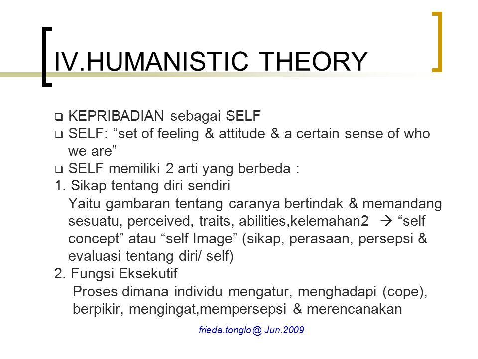 """IV.HUMANISTIC THEORY  KEPRIBADIAN sebagai SELF  SELF: """"set of feeling & attitude & a certain sense of who we are""""  SELF memiliki 2 arti yang berbed"""