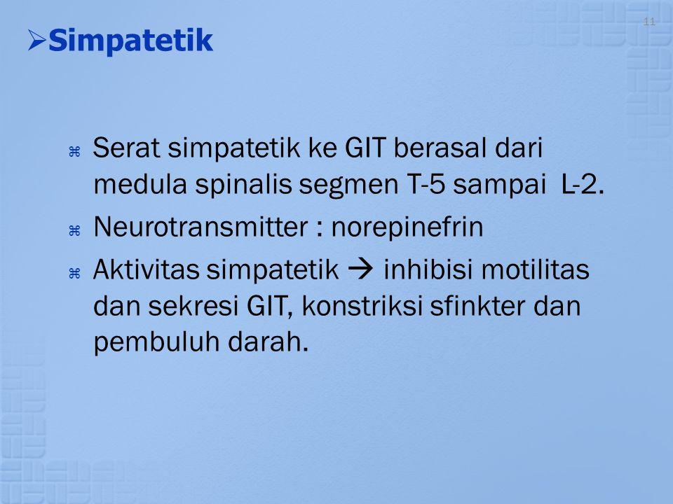 11   Simpatetik  Serat simpatetik ke GIT berasal dari medula spinalis segmen T-5 sampai L-2.  Neurotransmitter : norepinefrin  Aktivitas simpatet