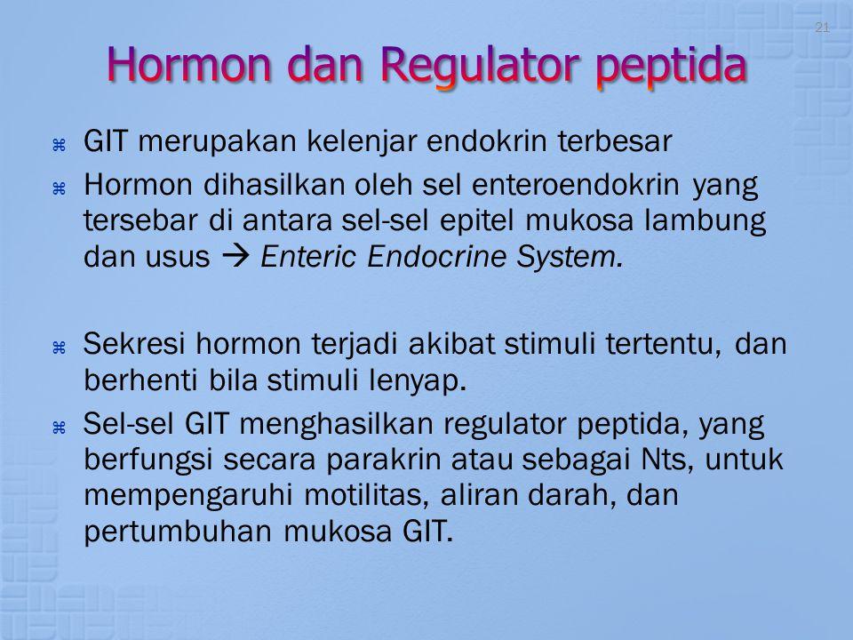  GIT merupakan kelenjar endokrin terbesar  Hormon dihasilkan oleh sel enteroendokrin yang tersebar di antara sel-sel epitel mukosa lambung dan usus
