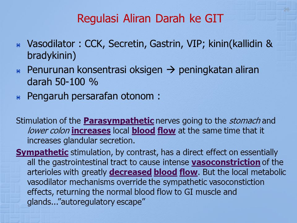 26 Regulasi Aliran Darah ke GIT  Vasodilator : CCK, Secretin, Gastrin, VIP; kinin(kallidin & bradykinin)  Penurunan konsentrasi oksigen  peningkata