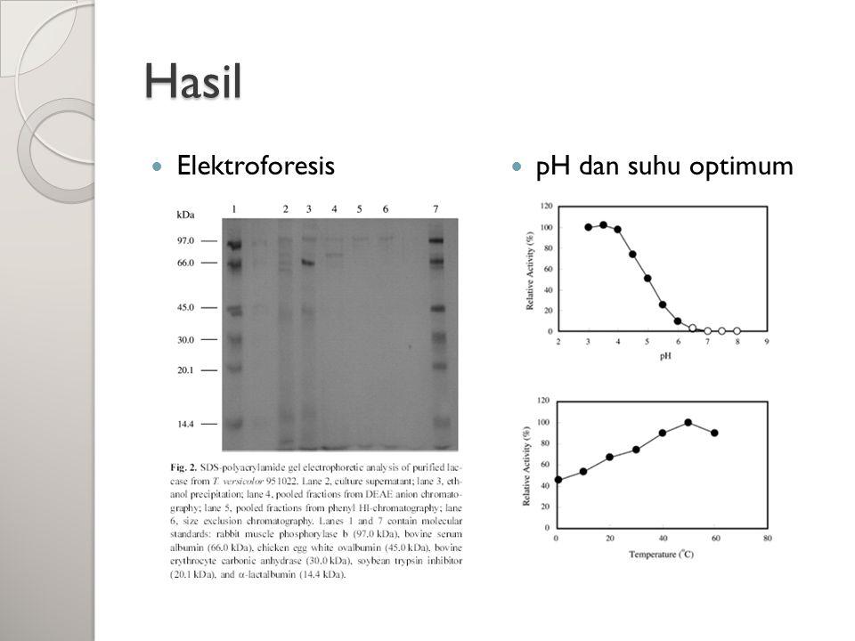 Hasil Elektroforesis pH dan suhu optimum