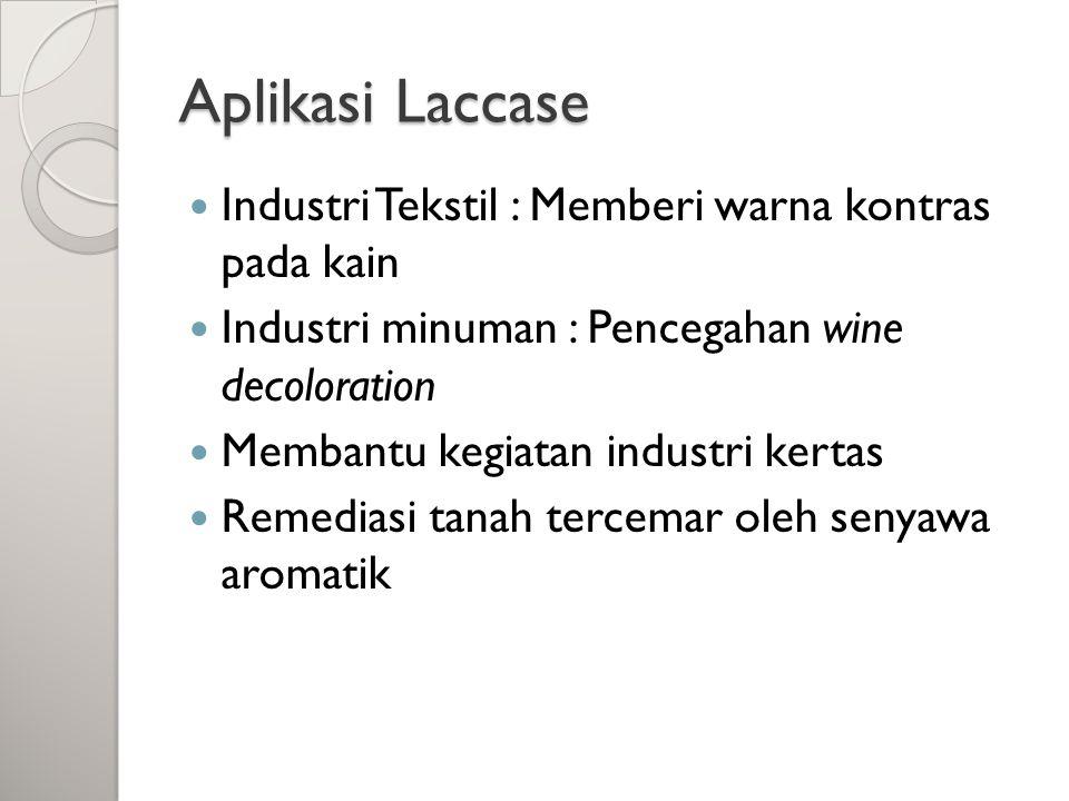 Aplikasi Laccase Industri Tekstil : Memberi warna kontras pada kain Industri minuman : Pencegahan wine decoloration Membantu kegiatan industri kertas Remediasi tanah tercemar oleh senyawa aromatik