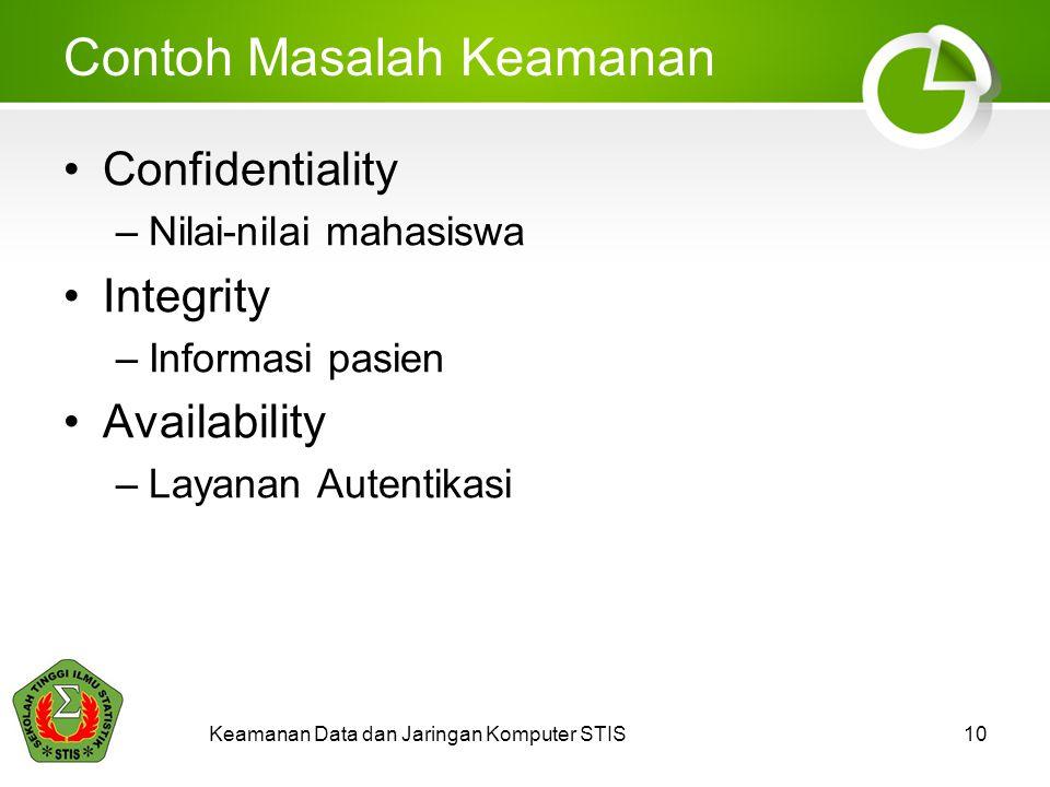 Contoh Masalah Keamanan Confidentiality –Nilai-nilai mahasiswa Integrity –Informasi pasien Availability –Layanan Autentikasi Keamanan Data dan Jaringan Komputer STIS10