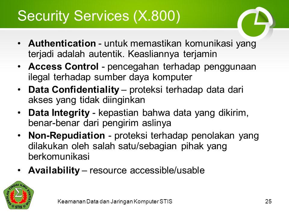 Security Services (X.800) Authentication - untuk memastikan komunikasi yang terjadi adalah autentik.