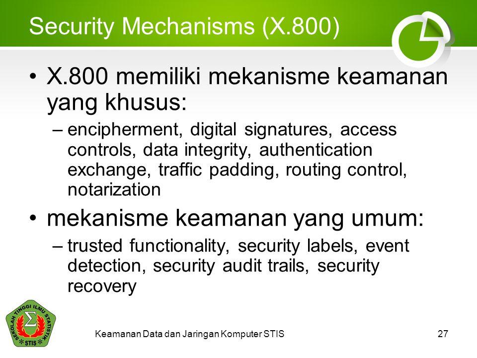 Security Mechanisms (X.800) X.800 memiliki mekanisme keamanan yang khusus: –encipherment, digital signatures, access controls, data integrity, authentication exchange, traffic padding, routing control, notarization mekanisme keamanan yang umum: –trusted functionality, security labels, event detection, security audit trails, security recovery Keamanan Data dan Jaringan Komputer STIS27