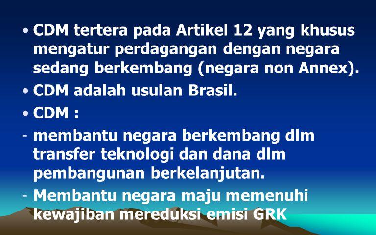 CDM tertera pada Artikel 12 yang khusus mengatur perdagangan dengan negara sedang berkembang (negara non Annex). CDM adalah usulan Brasil. CDM : -memb