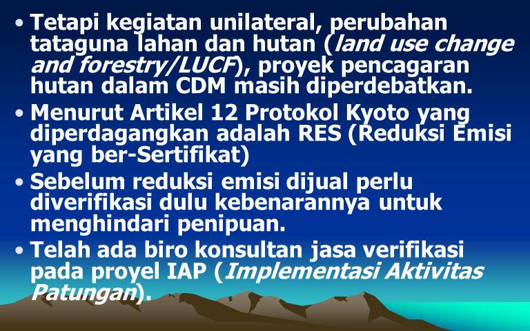 Tetapi kegiatan unilateral, perubahan tataguna lahan dan hutan (land use change and forestry/LUCF), proyek pencagaran hutan dalam CDM masih diperdebat