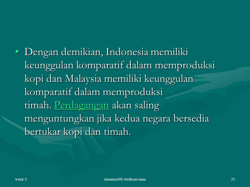 Dengan demikian, Indonesia memiliki keunggulan komparatif dalam memproduksi kopi dan Malaysia memiliki keunggulan komparatif dalam memproduksi timah.