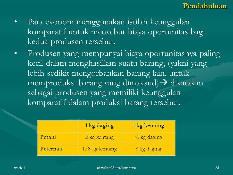 week-1ekmakro08-ittelkom-mna28 Para ekonom menggunakan istilah keunggulan komparatif untuk menyebut biaya oportunitas bagi kedua produsen tersebut.