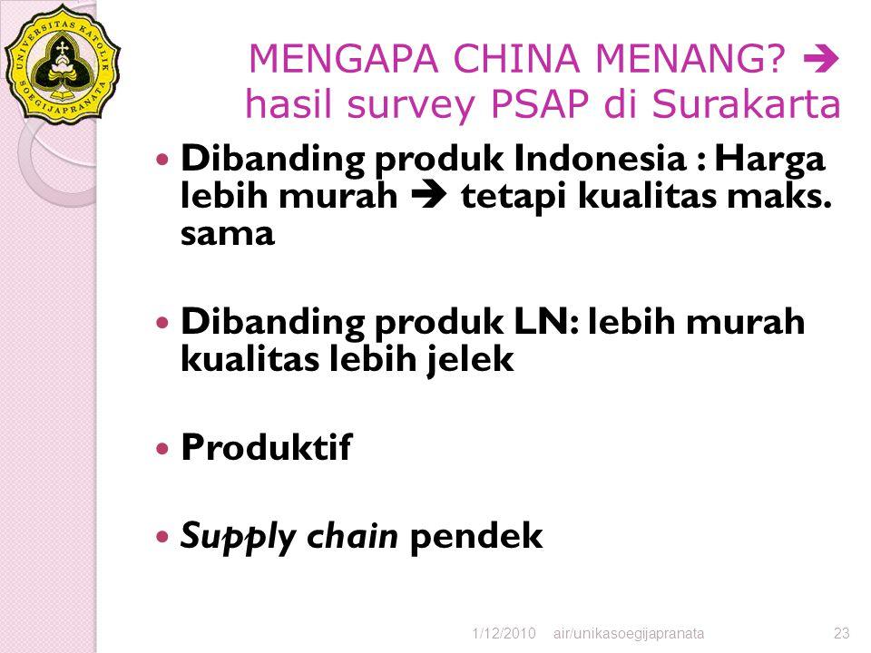 MENGAPA CHINA MENANG?  hasil survey PSAP di Surakarta Dibanding produk Indonesia : Harga lebih murah  tetapi kualitas maks. sama Dibanding produk LN
