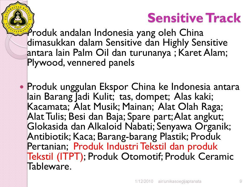 Sensitive Track Produk andalan Indonesia yang oleh China dimasukkan dalam Sensitive dan Highly Sensitive antara lain Palm Oil dan turunanya ; Karet Al