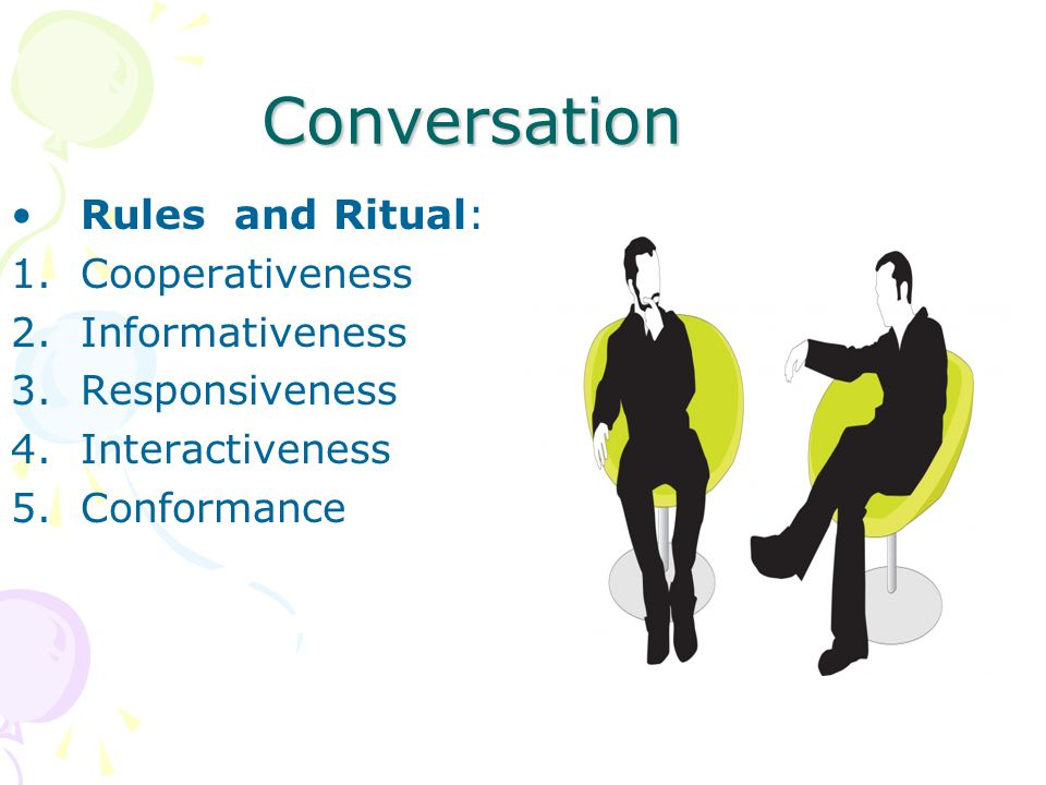 Conversation Language and gender 1.Initiation 2.Conversational maintenance and question asking 3.Argumentativeness 4.Lexical and phonological charateristic 5.Content and relationship 6.Metacommunication