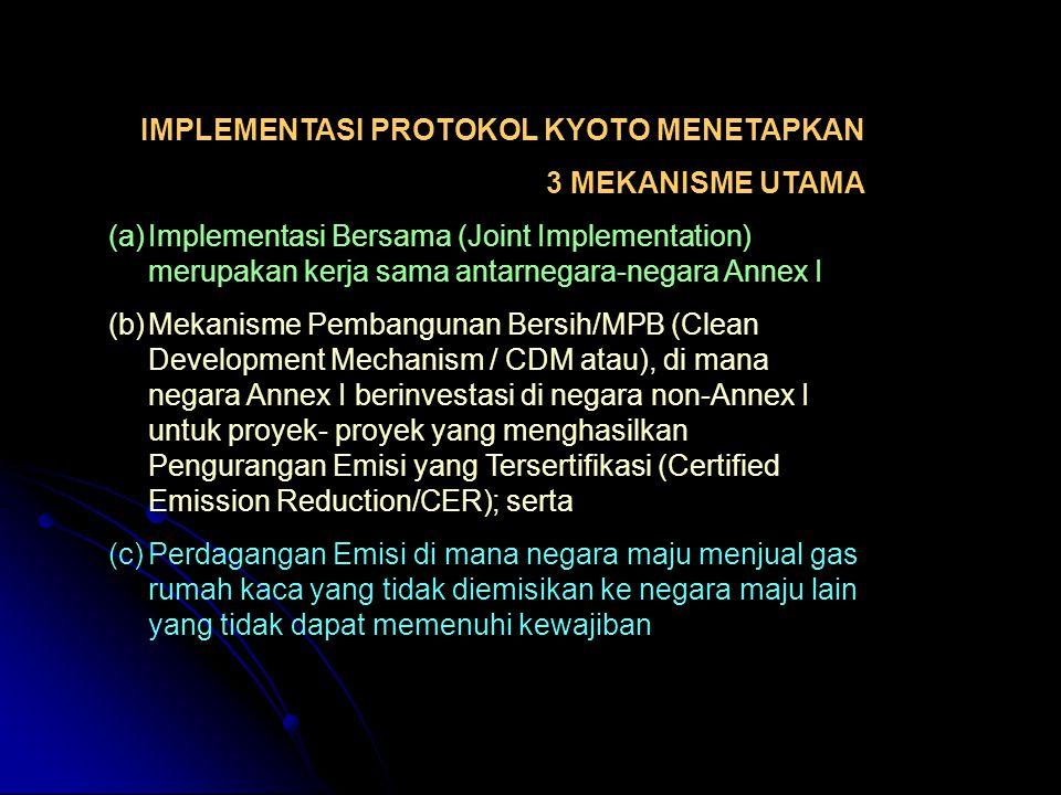 BEBERAPA KONDISI DI INDONESIA :  Total emisi CO2 750 Mt ( Asian Least Cost Greenhouse Gas Abatement Strategy, 1997)  21 % dari sektor ketenagalistrikan dengan pemasok tertinggi adalah sektor rumah tangga.