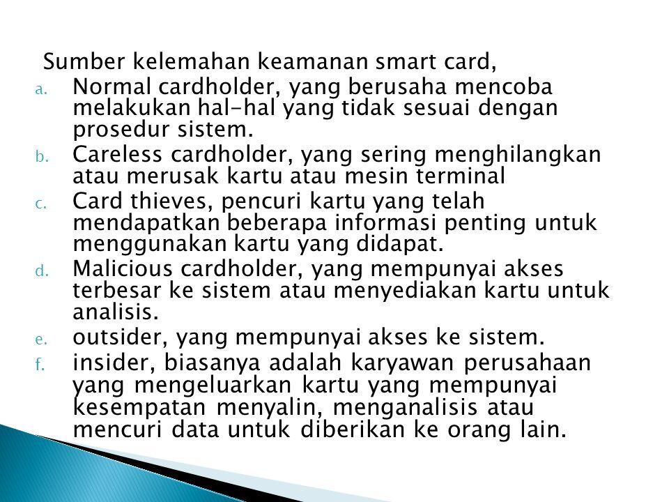Sumber kelemahan keamanan smart card, a.
