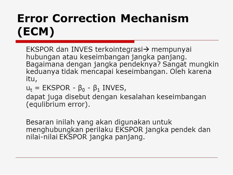 Tekhnik untuk mengoreksi ketidakseimbangan jangka pendek menuju pada keseimbangan jangka panjang disebut dengan Error Correction Mechanism (ECM), yang dikenalkan oleh Sargan dan dipopulerkan oleh Engle dan Granger.
