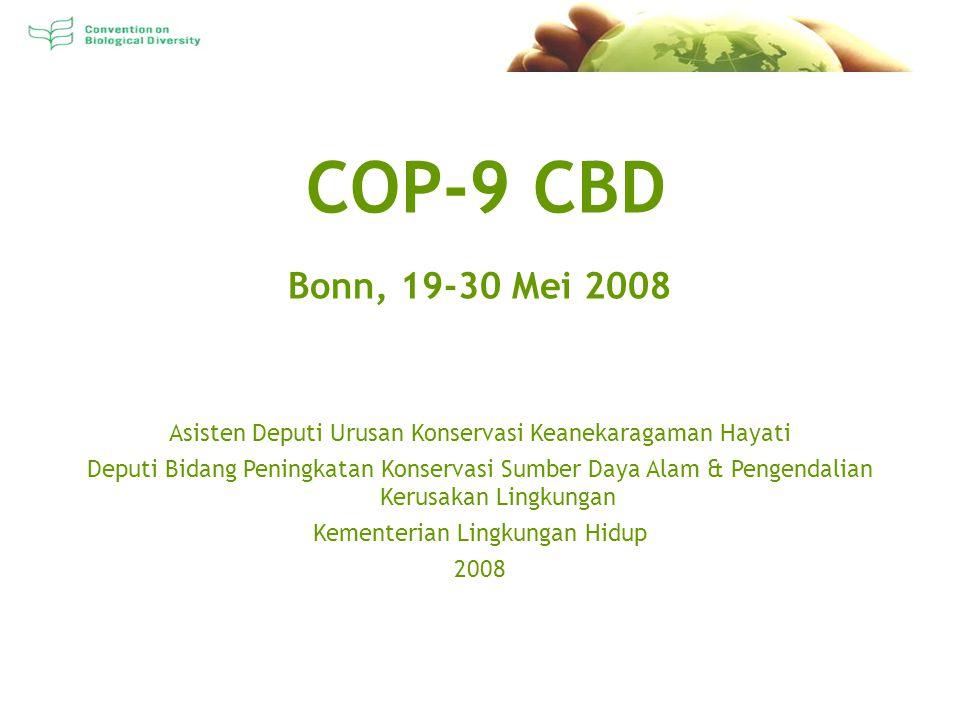 COP-9 CBD Bonn, 19-30 Mei 2008 Asisten Deputi Urusan Konservasi Keanekaragaman Hayati Deputi Bidang Peningkatan Konservasi Sumber Daya Alam & Pengendalian Kerusakan Lingkungan Kementerian Lingkungan Hidup 2008
