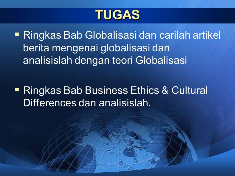 TUGAS  Ringkas Bab Globalisasi dan carilah artikel berita mengenai globalisasi dan analisislah dengan teori Globalisasi  Ringkas Bab Business Ethics & Cultural Differences dan analisislah.