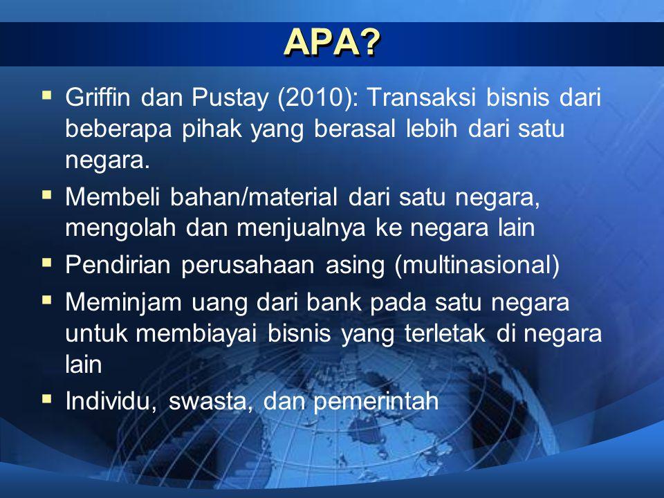 APA?  Griffin dan Pustay (2010): Transaksi bisnis dari beberapa pihak yang berasal lebih dari satu negara.  Membeli bahan/material dari satu negara,