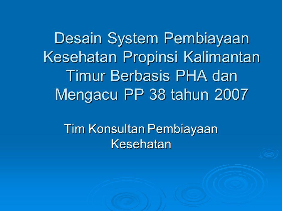 Desain System Pembiayaan Kesehatan Propinsi Kalimantan Timur Berbasis PHA dan Mengacu PP 38 tahun 2007 Tim Konsultan Pembiayaan Kesehatan